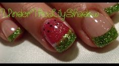 ☆★DIY Acrylic watermelon nails ★☆, via YouTube. This gal is awesome