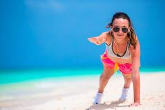 Add a little sun and sand to your strength training before summer fades away.  Next time you're at the beach, try a simple but challenging core strengthening move like a front plank.  Just push up on your forearms and toes. Hold for 30 seconds and then repeat.