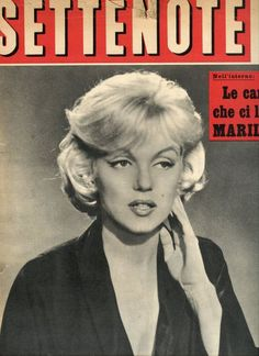 """Settenote - August 1962, magazine from Italy. Front cover photo of Marilyn Monroe on the set of """"Let's Make Love"""", 1960"""