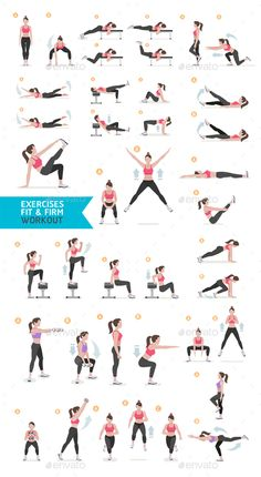Woman Fitness Aerobic and Exercises Vector Design Template - Sports/Activity Conceptual Vector Design Template PSD, Vector EPS, AI Illustrator. Download here: https://graphicriver.net/item/woman-fitness-aerobic-and-exercises/18936383?ref=yinkira