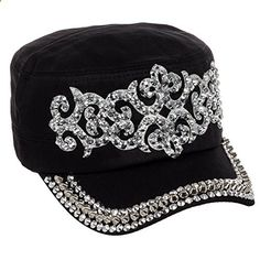 Crystal Case Women's Cotton Rhinestone Studded Medieval Military Cap Hat (Black). Read more description on the website.