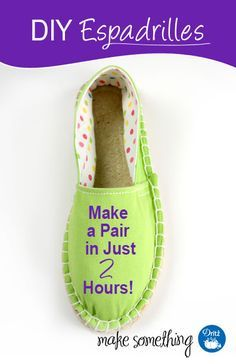 Sewing Tutorial: How to Make a Pair of DIY Espadrilles in Two Hours using the new Dritz jute soles, fabrics and specialty sewing supplies. Sewing/Quilting/Crafting Search Results for sewing espadrilles What About Amazing Easy Sewing Projects ? 12 Sewing P Sewing Patterns Free, Free Sewing, Sewing Tutorials, Sewing Hacks, Sewing Crafts, Sewing Projects, Sewing Tips, Espadrilles, Sewing Slippers