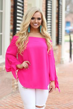 Off The Shoulder Pink Top Outfit, Pink Outfits, Chic Outfits, Fashion Outfits, Womens Fashion, Hot Pink Shirt Outfit, Fashion Clothes, Fashion Ideas, Hot Pink Fashion