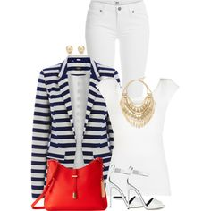 Blazer, heels and jeans by ginga1203 on Polyvore featuring polyvore fashion style BCBGMAXAZRIA Oasis Paige Denim Giuseppe Zanotti Vince Camuto Cara Tiffany & Co.