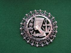 Vintage Art Nouveau Queen Nefertiti & Ankh Silver Brooch Pin Pendant Egyptian Silver by VintageBlackCatz on Etsy