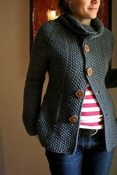 chunky yarn… ✔… seed stitch… ✔ … fab buttons… ✔