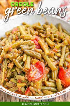 Creole Green Beans Recipe - transform canned green beans into something amazing! Green beans, bacon, onion, green pepper, brown sugar, mustard, stewed tomatoes, and Worcestershire sauce. SO good! I could make a meal out of these green beans! Great with chicken, pork, and beef. Ready in 20 minutes! Cajun Green Beans Recipe, Green Bean Recipes, Vegetable Sides, Vegetable Recipes, Veggie Dishes, Jambalaya Soup, Whole Food Recipes, Cooking Recipes, Dinner Recipes