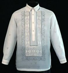 Piña-Jusi Barong Tagalog #2008 A handsome blend of hand painted design and embroidery to compliment this versatile Barong Tagalog style. Expertly tailored in the finest Jusi fabric, our premium Barong Tagalog provide only the best in quality and construction.  #BarongsRUs #barong