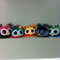 """Owl hats made in any color and size available on our Facebook page """"idle hands crochet"""" כובעי ינשוף"""