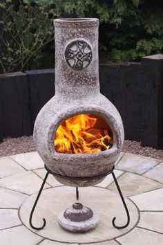Celtic style clay chimenea including stand and lid. Clay chimeneas have been used for centuries in Central America and are so efficient that only small fires are needed to heat the chimenea and retain the heat for a long time afterwards. The lid is for use as a rain lid only not for use when the chimenea is lit.We have tons of colours and styles available please ask for information. Each chimenea is hand made and hand painted and therefore each is unique and some colours and shapes may…