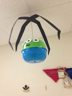 The claw Toy Story Alien classroom decor.  Used two bowls from Dollar tree.
