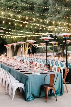 String Lighting by Islay Events Venue: Halter Ranch Photography: Anna Delores Design: Lovelyfest Florals: Idlewildfloral Rentals: Avenue Twelve Rentals & All About Events Linens: La Tovola Linen Outdoor Wedding Reception, Wedding Catering, Wedding Table, Wedding Decor, Rustic Wedding, Patio Wedding, Wedding Dinner, Spring Wedding, Garden Wedding