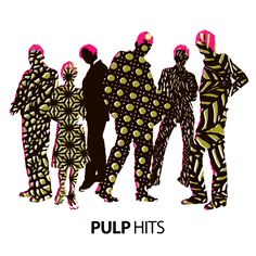 Pulp - Hits. > Peter Saville. Pattern is the first thing that pops into my head whilst looking at this cover. It makes me feel alive and hyped up. I love the use of silhouettes to give a characteristic of a human body, it makes you think who they could be.