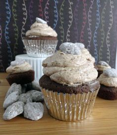 Cocoa-Buttermilk Cupcakes with Puppy Chow Buttercream