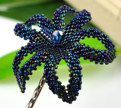 RESERVED Beaded flower bobby pin midnight iris blue by lostaloha