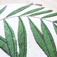 Detailed leaf embroidery by hoops_broderies