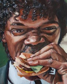 Jules Eats a Big Kahuna Burger - Pulp Fiction Painting - Portrait Print eating Jules Eats a Big Kahuna Burger - Pulp Fiction Painting - Portrait Print Tatuagem Pulp Fiction, Pulp Fiction Tattoo, Pulp Fiction Art, Tattoo Film, Movie Tattoos, Disney Tattoos, Big Kahuna Burger, Arte Marilyn Monroe, Tarantino Films
