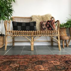 Vintage Bohemian Rattan Bamboo Sofa - Vintage Bohemian Home Bamboo Sofa, Rattan Sofa, Wicker, Leather Sectional Sofas, Leather Loveseat, Vintage Bohemian, Bohemian Decor, Bohemian Style, Vintage Furniture