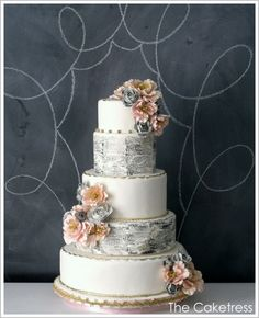 Vintage Book Papers / Typography Wedding Cake inspiration