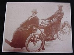 Motorcycle Tri-Car With Side Front Car Vintage Sepia Card Stock Photo 1900s