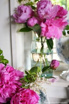 Pink Peonies and privet blooms in Ball jars with blue transferware | homeiswheretheboatis.net #pottingshed