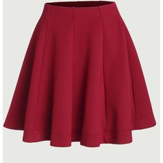 SheIn(sheinside) Red Vertical Panel Flare Skirt