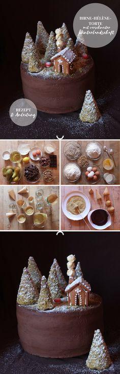 Wie wäre es mit einer saftigen Birne-Helene-Torte? Pochierte Birnen und Mousse au Chocolat zwischen Walnussbiskuitböden – umrahmt von einer herben Ganache.