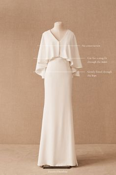 A showstopping cape detail defines this figure-flattering gown, ideal for the modern bride. The subtle skirt flares out for an added touch of drama. Only available at BHLDN Muslimah Wedding Dress, Muslim Wedding Dresses, Muslim Dress, Bridal Dresses, Dress Muslim Modern, Pretty Dresses, Beautiful Dresses, Hijab Dress Party, Hijab Gown