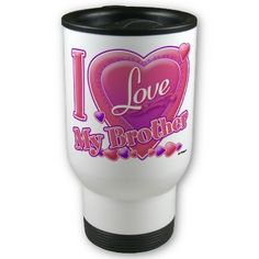 I Love My Brother pink/purple - heart Mug by ZuzusFunHouse. With http://www.facebook.com/HudieGramGraphics