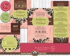 Wedding Invitation Bundle   Rustic Vintage Floral  by ShopGO