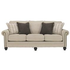 Milari - Linen Transitional Sofa with Rolled Arms with Nail Head Trim by Signature Design by Ashley at Johnny Janosik