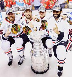 Viktor Stålberg, Niklas Hjalmarsson, Marcus Krüger and Johnny Oduya - Chicago Blackhawks, Stanley Cup Champions 2013