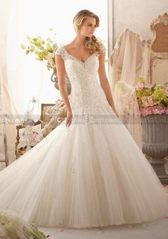 Mermaid Cap Sleeves V-neck Court Train Appliqued and Beading Tulle Wedding Dresses