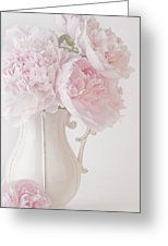 A Jug Of Soft Pink Peonies Greeting Card by Sandra Foster