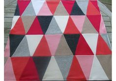 Triangle Cashmere Baby Blanket - Pinks - Heirloom Quality Patchwork Quilt by Reverie Textiles