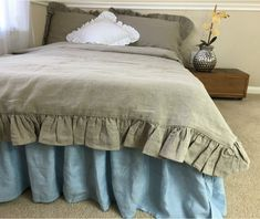 Dark Linen Ruffle Duvet Cover | Handcrafted by Superior Custom Linens