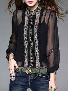 Black Embroidered Long Sleeve Blouse With Belt