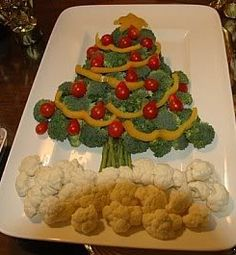 Vegetable christmas tree -- looks cute, but it's raw, and not warm comfort food... A Baked Potato with Tofuttie Sour Cream, Cranberries, Green Beans, A big fat sweet Yam, Stuffing made w/chicken-free vegan bread, onion, celery, mushrooms, cranberry, apple, margarine, Saute veggies in veggie oil. Yum