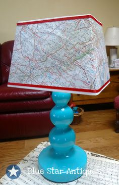 Interesting DIY map covered lamp shade - could inspire other ideas, too...I would do this in more muted colors using a map of Paris for my living room. *sigh* I cannot WAIT. :o)