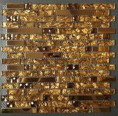 Online Buy Glass Metal Mosaic Tiles for kitchen backsplash & bathroom wall flooring remolding at factory wholesale price. Huge selection of glass mosaic, glass tiles, metallic tile mosaic & glass metal mosaics. Ceramic Mosaic Tile, Stone Mosaic Tile, Mosaic Glass, Tile Projects, House Projects, Crackle Glass, Gold Glass, Wall Tiles, Mosaic Wall