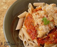 Parmeson Chicken w/ Spaghetti Sauce:  Prepare as the recipe instructs, until the baking stage of the recipe. Don't bake them at this point. Just assemble the recipe in an aluminum tin, cover it tightly with tin foil and pop it in your freezer. When you are ready to use the meal, let it thaw out either in your fridge or on the counter top.