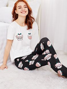 8c383d7b81 Shop Allover Dog Print Tee And Pants PJ Set online. SheIn offers Allover Dog  Print
