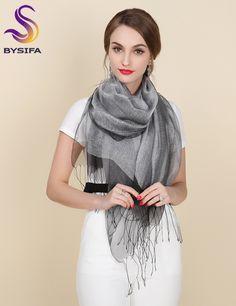 New Elegant Organza Silk Scarf Shawl Fashion 100% Mulberry Silk Silver Grey Female Long Scarves Autumn Winter Ladies Tassel Cape
