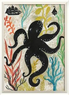 Silhouette Octopus Framed Wall Art