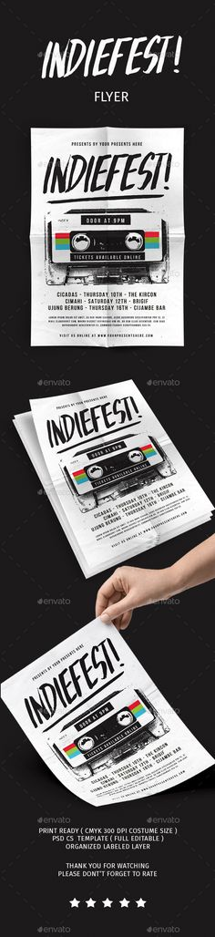 Buy Indiefest Flyer by lilynthesweetpea on GraphicRiver. Indiefest flyer Features The flyer's size is – 210 mm x 297 mm + bleed, CMYK Layers are all well orga. Graphic Design Branding, Typography Design, Event Flyer Templates, Print Fonts, Inspirational Artwork, Indie, Christmas Design, Art Design, Retro