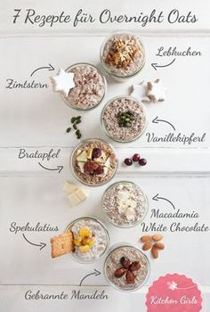 7 Overnight Oats for the winter Healthy breakfast overnight: We show you 7 recipes for Overnight Oats with gingerbread, spiced biscuits & Co! The post 7 Overnight Oats for the winter appeared first on Garden ideas - Health and fitness Low Carb Vegan Breakfast, Healthy Breakfast Recipes, Brunch Recipes, Healthy Snacks, Vegan Recipes, Breakfast Ideas, Snacks Recipes, Shrimp Recipes, 21 Day Fix