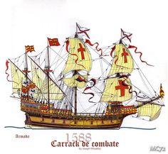 From Military History, nautical Spanish Armada, Naval History, Military History, Vintage Boats, Medieval Life, Marine Boat, Tug Boats, Navy Ships, Ship Art