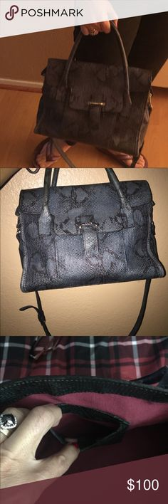 Prune made in Argentina Prune a Argentina bag. Green/black  Python looking handbag with a long strap.8h by 11w .Great space inside. Great condition .no tears. Outer  pocket. Inside zipper pocket with a small opposite side pocket . Removable strap 40 inches long. prune Bags Crossbody Bags
