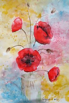 A Vase With Poppy Flowers