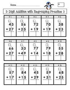 """Created for elementary age students, this is 4 pages of addition and subtraction problems set up in a grid with boxes for """"regrouping""""/""""carrying""""/""""borrowing. Addition Worksheets, Math Addition, Addition And Subtraction, Math Worksheets, Subtraction With Borrowing, Math Homework Help, Second Grade Math, Grade 3, Math For Kids"""